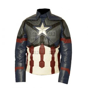 Captain America Cosplay Faux Leather Jacket