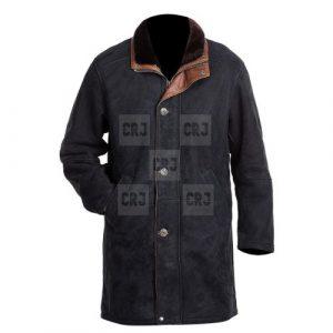 Black Longmire Genuine Leather Coat