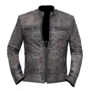 Vintage Distressed Grey Biker's Leather Jacket