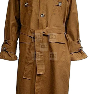 Blade Runner Harrison Ford Vintage Cotton Men Brown Trench Long Coat