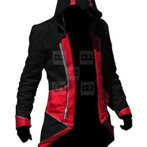 Red & Black Assassin's Creed 3 Unisex Leather Hoodie Jacket