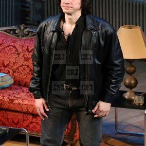 Adam Driver Regular Men's Black Leather Bomber Jacket