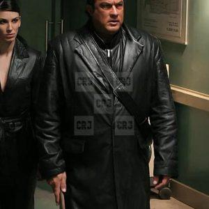 Against The Dark Steven Seagal (toa) Black Leather Coat