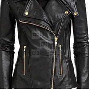 Alabama Women Biker Slim Fit Black Leather Jacket