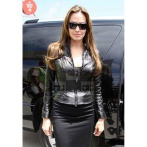 Comic Con 2014 Slim Fit Angelina Jolie Black Leather Jacket