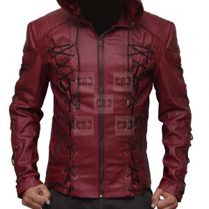 Arrow Arsenal Red Hooded Genuine Leather Jacket