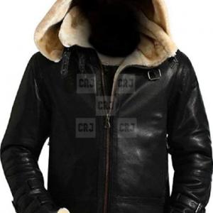 Bomber B3 Flight Real Fur Black Leather Hooded Jacket