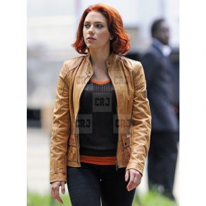 Avengers Scarlett Johansson Slim Fit Casual Brown Leather Jacket