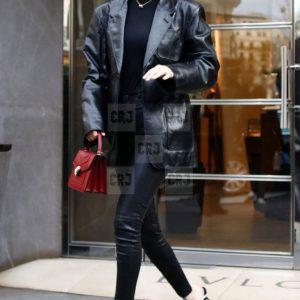Bella Hadid Black Leather Vintage Style Blazer