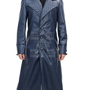 Long Wool Assassins Creed Leather Blue Overcoat