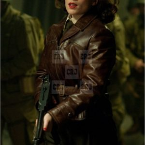 Avengers Agent Peggy Carter Brown Distressed Leather Jacket