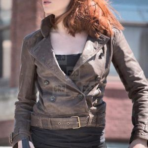 Avengers Scarlett Johansson Slim Fit Brown Leather Jacket