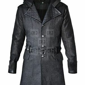 Long Wool Assassin's Creed Leather Black Overcoat