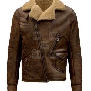 Jason Momoa Justice League 2017 Movie Brown Leather Fur Jacket.