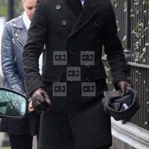 David Beckham Black Double Breasted Wool Winter Coat