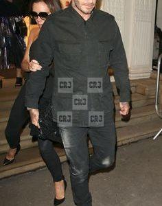 Black David Beckham Men's Winter Cotton Long Jacket