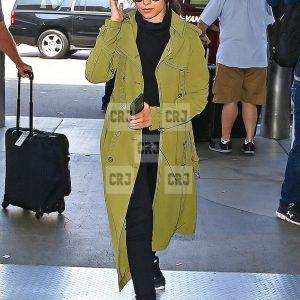Green Color Camila Cabello Cotton Long Trench Coat
