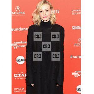 Carey Mulligan Long Black Wool Rain Coat