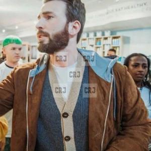 Chris Evans Casual Brown Suede Leather Bomber Hoodie Jacket