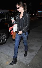 Dakota Johnson Real Black Leather Slim Fit Jacket
