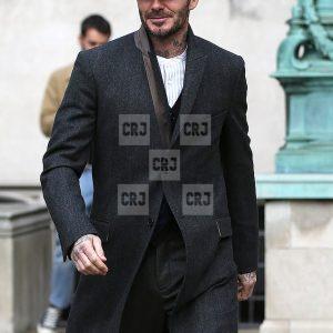 David Beckham Black Wool Winter Coat For Men