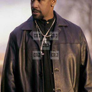 Denzel Washington Training Day Black Leather Winter Coat