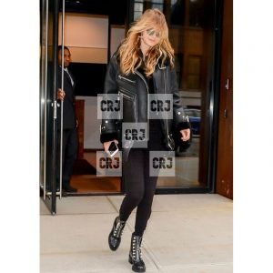 Black Bomber Gigi Hadid Shearling Lining Leather Jacket