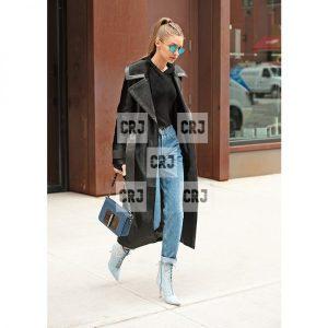 Gigi Hadid Black Suede Leather Long Trench Coat