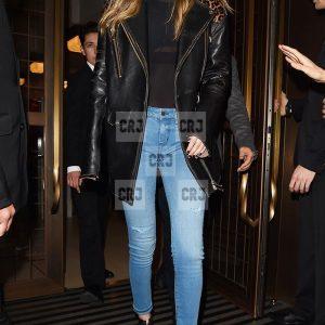 Gigi Hadid Casual Black Leather Office Style Blazer Coat