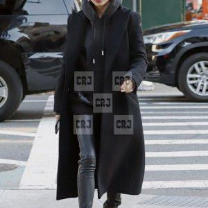 Black Hailey Baldwin Wool Long Blazer Style Coat