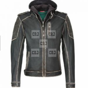 Joker Suicide Squad Distressed Leather Hooded Jacket
