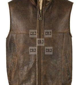 B-3 Bomber Brown Leather Vest