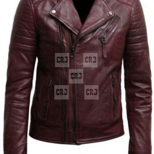 Brown Biker Mens Cross Zipped Fashion Leather Jacket