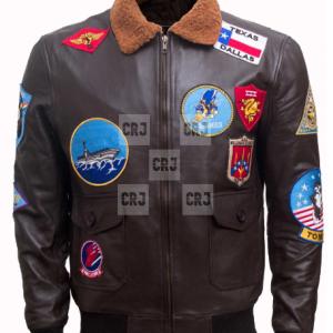 Tom Cruise Maverick Top Gun Brown Moto Bomber Leather Jacket