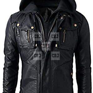 Mens Black Brando Leather Motorcycle Hoodie Jacket