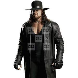 The Undertaker Real Black Leather Overcoat
