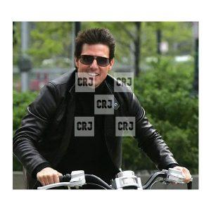 Tom Cruise Mens Casual Black Leather Biker Jacket