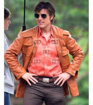 Tom Cruise Vintage Style Orange Real Leather Jacket