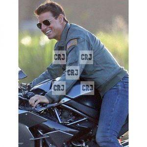 Tom Cruise Top Gun Mens Khaki Bomber Jacket
