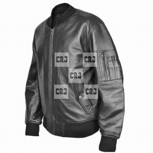 US Military Air Force MA1 Flight Bomber Black Leather Jacket