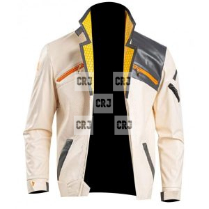Valorant Game Phoenix Men White Genuine Leather Costume